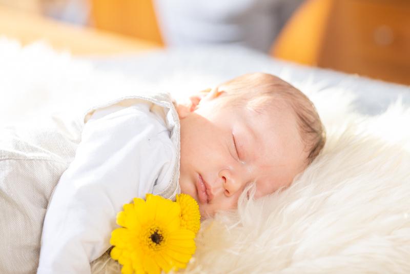 Baby auf einem Lammfell mit gelber Blume